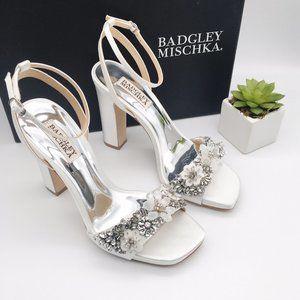 Badgley Mischka Alexa Bridal Heel Soft White Satin